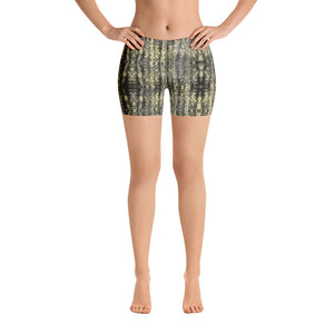 Green Snakeskin Printed Women's Shorts, Sexy Snake Print Short Tights For Reptile Lovers-Heidikimurart Limited -XS-Heidi Kimura Art LLC