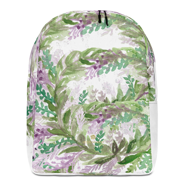 "White Lavender Print Designer Laptop Minimalist Backpack- Made in EU--Heidi Kimura Art LLC White Lavender Backpack, Floral Print Pattern White Modern Unisex Designer Minimalist Water-Resistant Ergonomic Padded Backpack With Large Inside Pocket to Fit Most 15"" Laptops - Made in EU, Minimalist Backpack"