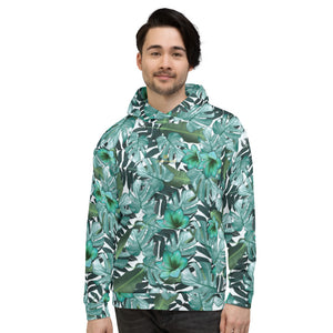Green Tropical Leaf Print Men's Unisex Hoodie Sweatshirt Pullover Top- Made in EU-Men's Hoodie-XS-Heidi Kimura Art LLC