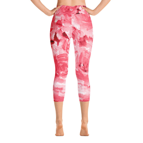 Passionate Red Rose Floral Print Capri Leggings Women's Yoga Pants - Made in USA-Capri Yoga Pants-Heidi Kimura Art LLC