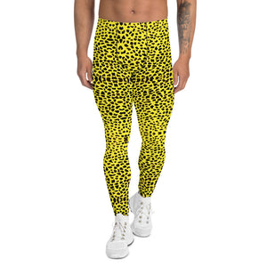 Yellow Leopard Print Men's Leggings-Heidi Kimura Art LLC-XS-Heidi Kimura Art LLC Yellow Leopard Print Men's Leggings, Cheetah Designer Animal Print Men's Leggings Tights Pants - Made in USA/EU (US Size: XS-3XL)Sexy Meggings Men's Workout Gym Tights Leggings