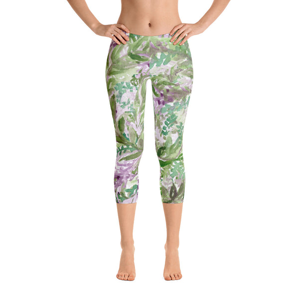 Lavender Floral Print Capri Leggings, Designer Capris Spandex Soft Tights- Made in USA/EU-capri leggings-Heidi Kimura Art LLC