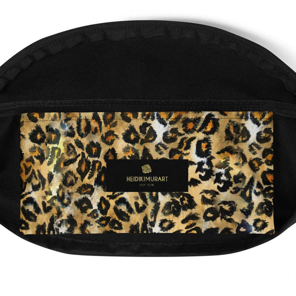 Brown Leopard Animal Print Designer Fanny Pack Festival Belt Waist Bag- Made in USA-Fanny Pack-Heidi Kimura Art LLC
