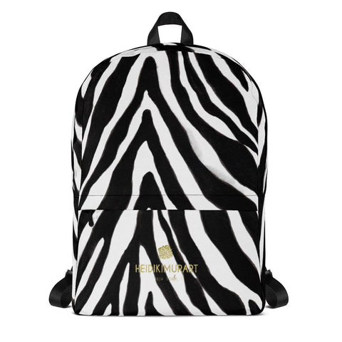 Zebra Animal Print Backpack, Black White Zebra Print Laptop Backpack-Made in USA/EU-Backpack-Heidi Kimura Art LLC