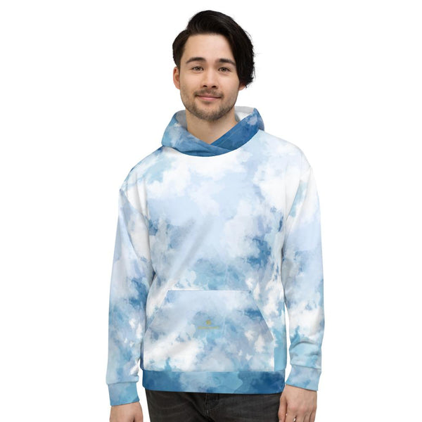 Blue Abstract White Print Men's or Women's Unisex Premium Hoodie - Made in Europe-Women's Hoodie-Heidi Kimura Art LLC