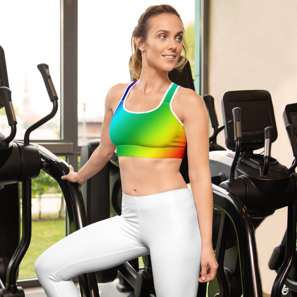 Rainbow Diagonal Stripe Print Women's Padded Fitness Gym Sports Bra- Made in USA/EU-Sports Bras-White-XS-Heidi Kimura Art LLC
