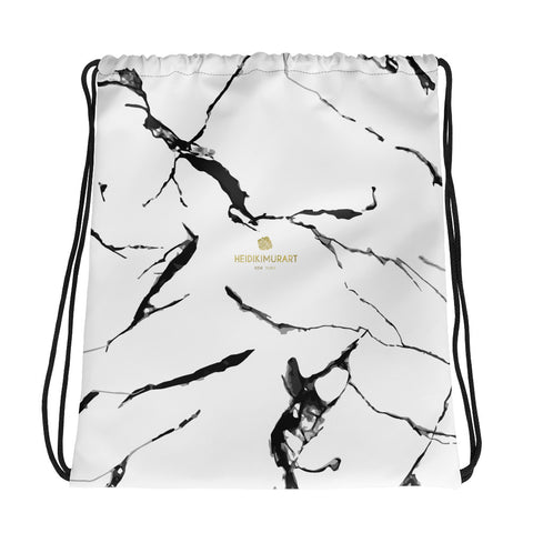 "White Marble Print Designer 15x17"" Premium Quality Best Drawstring Bag- Made in USA/EU-Drawstring Bag-Heidi Kimura Art LLC"