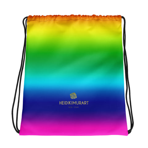 "Bright Rainbow Ombre Print Designer 15""x17"" Best Quality Drawstring Bag- Made in USA/EU-Drawstring Bag-Heidi Kimura Art LLC v"