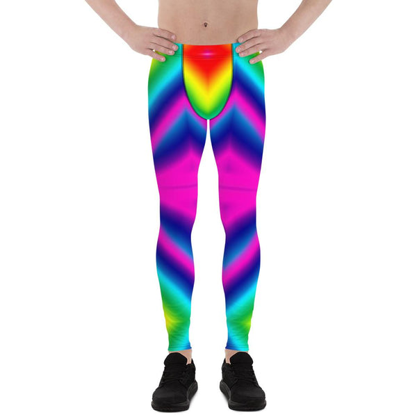 Colorful Rainbow Ombre Print Premium Men's Leggings Men Tights- Made in USA/EU-Men's Leggings-XS-Heidi Kimura Art LLC