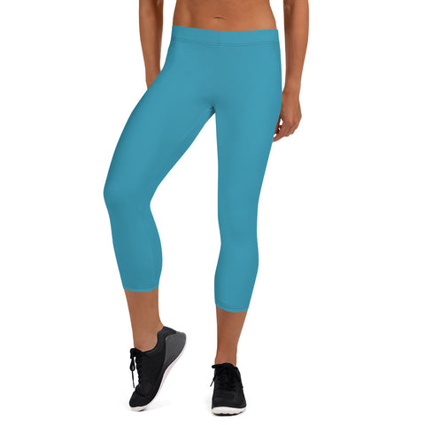 Blue Casual Women's Capri Leggings, Solid Color Ladies Fancy Tights-Made in USA/EU-Heidi Kimura Art LLC-XS-Heidi Kimura Art LLC BlueRed Women's Capri Leggings, Modern Solid Color Capri Designer Spandex Dressy Casual Fashion Leggings - Made in USA/EU (US Size: XS-XL)