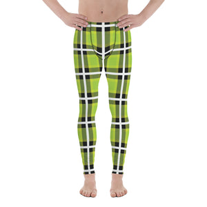 Green Plaid Print Men's Leggings, Tartan Plaid Printed Fashion Preppy Meggings-Made in USA/EU-Heidikimurart Limited -XS-Heidi Kimura Art LLC Green Plaid Print Men's Leggings, Tartan Plaid Printed Fashion Preppy Print Meggings, Colorful Best Classic Sexy Meggings Men's Workout Gym Tights Leggings, Men's Compression Tights Pants - Made in USA/ EU/ MX (US Size: XS-3XL)