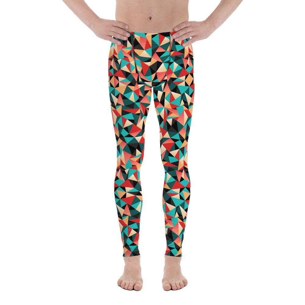 Festive Bright Triangular Geometric Multi Color Printed Men's Yoga Pants Running Leggings & Tights- Made in USA/ Europe(US Size: XS-3XL)
