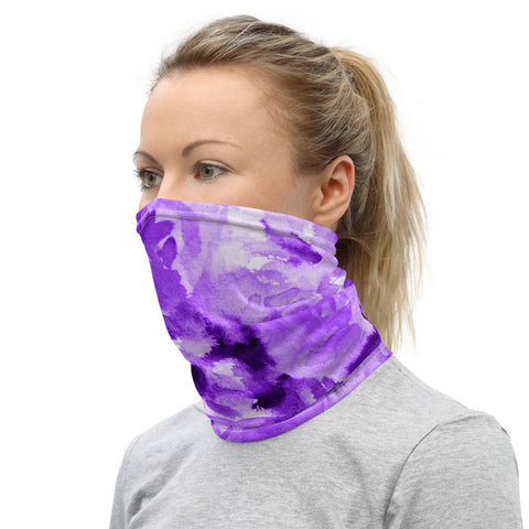 Purple Floral Neck Gaiter, Abstract Bandana Face Covering Mask-Made in USA/EU-Heidi Kimura Art LLC-Heidi Kimura Art LLC v