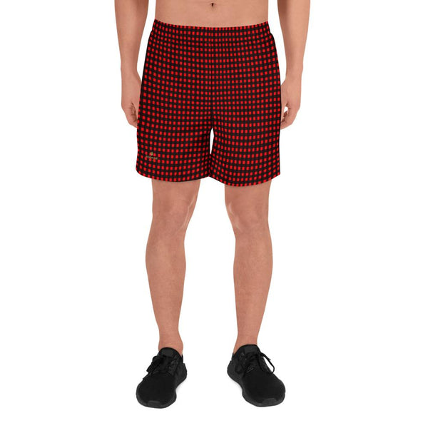 Buffalo Red Plaid Print Men's Athletic Best Workout Designer Long Shorts- Made in EU-Men's Long Shorts-XS-Heidi Kimura Art LLC
