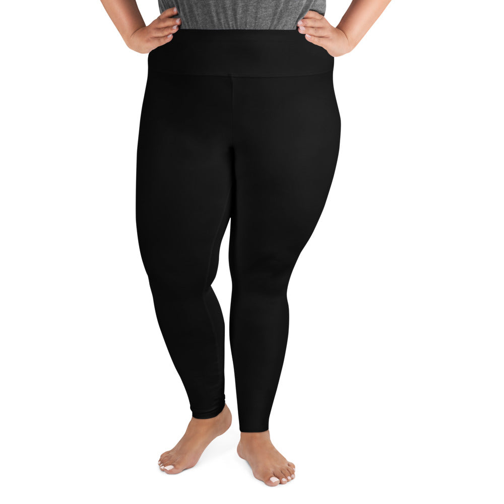 Solid Classic Black Color Premium Women's Quality Plus Size Leggings- Made in USA/EU-Women's Plus Size Leggings-2XL-Heidi Kimura Art LLC