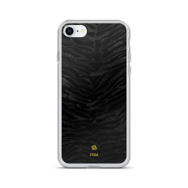 Black Tiger Striped Animal Print Pattern Custom Name iPhone Case, Made in USA/ Europe-Phone Case-iPhone 7/8-Heidi Kimura Art LLC