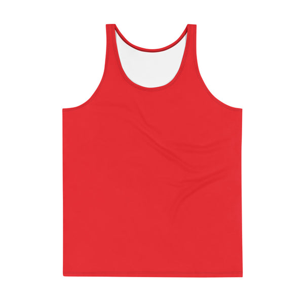 Hot Red Solid Color Print Men's or Women's Premium Unisex Tank Top- Made in USA-Men's Tank Top-XS-Heidi Kimura Art LLC
