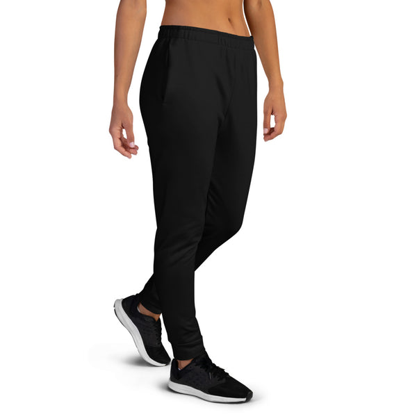 Black Solid Color Premium Printed Premium Slim Fit Soft Women's Joggers Pants-Made in EU-Women's Joggers-Heidi Kimura Art LLC Black Women's Joggers, Black Solid Color Premium Printed Slit Fit Soft Women's Joggers Sweatpants -Made in EU (US Size: XS-3XL) Plus Size Available, Solid Coloured Women's Joggers, Soft Joggers Pants Womens