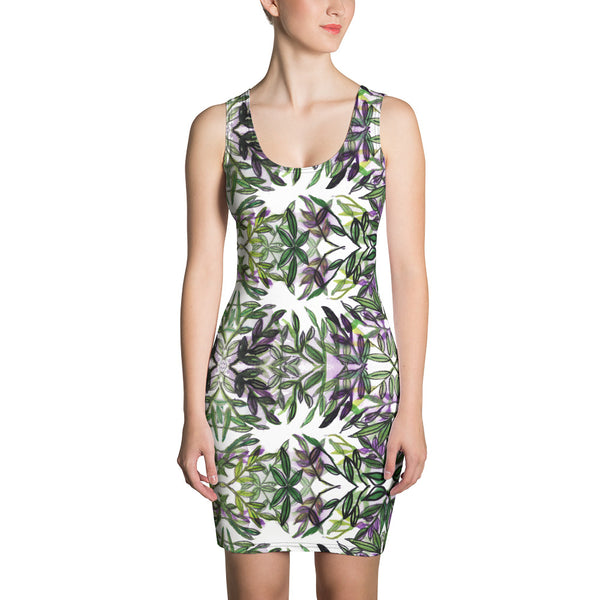 Green Tropical Leaf Print Dress, Women's Designer Hawaiian Style Dress-Heidi Kimura Art LLC-XS-Heidi Kimura Art LLC Green Tropical Leaf Print Women's Dress, Floral Print Hawaiian Style Women's Long Sleeveless Designer Premium Dress - Made in USA/EU (US Size: XS-XL)