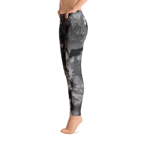 Gray Rose Floral Print Women's Long Casual Leggings/ Running Tights - Made in USA-Casual Leggings-Heidi Kimura Art LLC