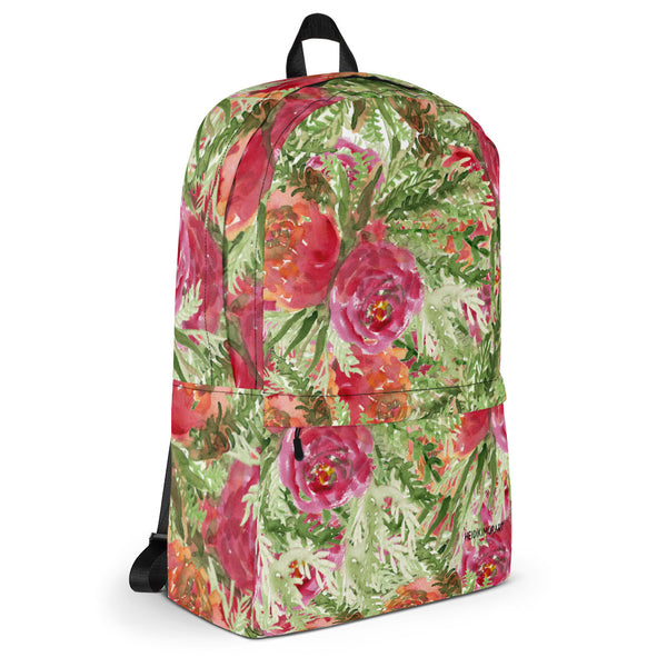 "Orange Red Rose Watercolor Floral Print Medium Size (Fits 15"" Laptop) Backpack Bag-Backpack-Heidi Kimura Art LLC"