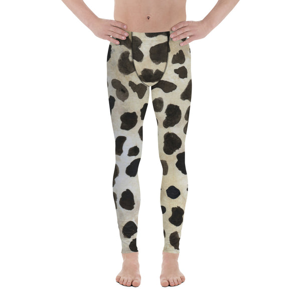 Brown Animal Print Cow Print Sexy Wild Men's Leggings-Made in USA/EU (US Size: XS-3XL)-Men's Leggings-XS-Heidi Kimura Art LLC Brown Cow Meggings, Brown Animal Cow Print Sexy Hot Fashionable 38-40 UPF Fitted Yoga Pants Running Leggings & Tights- Made in USA/EU (US Size: XS-3XL)
