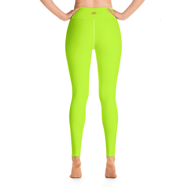 Women's Neon Green Solid Color Active Wear Fitted Leggings Sports Long Yoga Pants-Leggings-2XL-Heidi Kimura Art LLC Neon Green Women's Leggings, Women's Neon Green Solid Color Active Wear Fitted Sports Leggings Sports Long Yoga & Barre Pants - Made in USA/EU (US Size: XS-6XL)