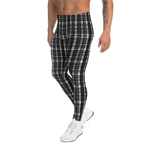 Black White Plaid Print Meggings, Designer Tartan Plaid Printed Men's Leggings-Heidikimurart Limited -Heidi Kimura Art LLC Black White Plaid Print  Meggings, Classic Designer Tartan Plaid Printed Best Chic Sexy Meggings Men's Workout Gym Tights Leggings, Men's Compression Tight Pants - Made in USA/ EU/ MX (US Size: XS-3XL)
