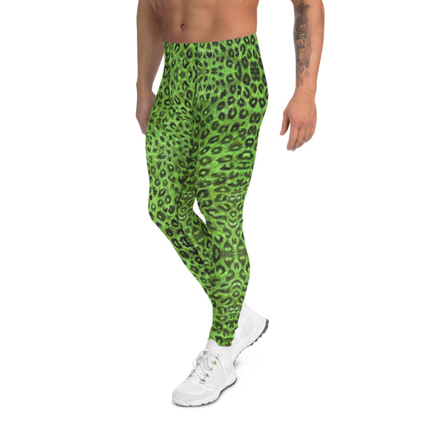 Light Green Leopard Men's Leggings, Animal Print Meggings Compression Tights-Heidikimurart Limited -Heidi Kimura Art LLC Green Leopard Print Men's Leggings, Light Green Animal Print Leopard Modern Meggings, Men's Leggings Tights Pants - Made in USA/EU/MX (US Size: XS-3XL) Sexy Meggings Men's Workout Gym Tights Leggings