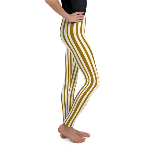 Classic Light Yellow Brown Vertical Stripe Print Premium Youth Leggings-Made in USA/EU-Youth's Leggings-Heidi Kimura Art LLC