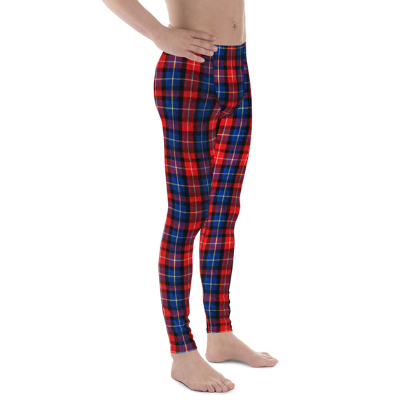 Classic Red Plaid Print Men's Running Leggings Tights Meggings Pants- Made in USA/EU-Men's Leggings-Heidi Kimura Art LLC Red Plaid Meggings, Classic Red Plaid Print Men's Running Leggings Run Tights Meggings Pants, Compression Tights- Made in USA/EU (US Size: XS-3XL)