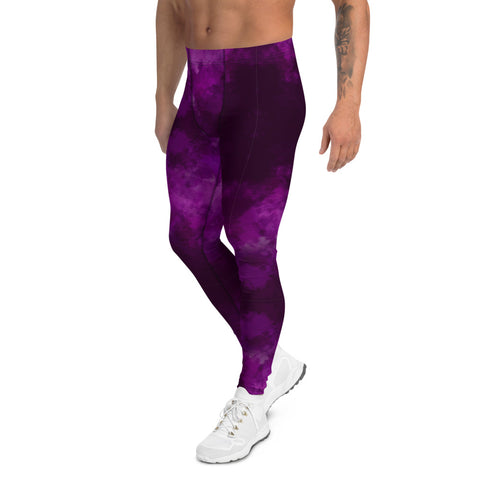 Purple Abstract Men's Leggings, Tie Dye Print Meggings-Made in USA/EU-Heidi Kimura Art LLC-Heidi Kimura Art LLC Purple Abstract Men's Leggings, Tie Dye Print Men's Leggings Tights Pants - Made in USA/EU (US Size: XS-3XL)Sexy Meggings Men's Workout Gym Tights Leggings