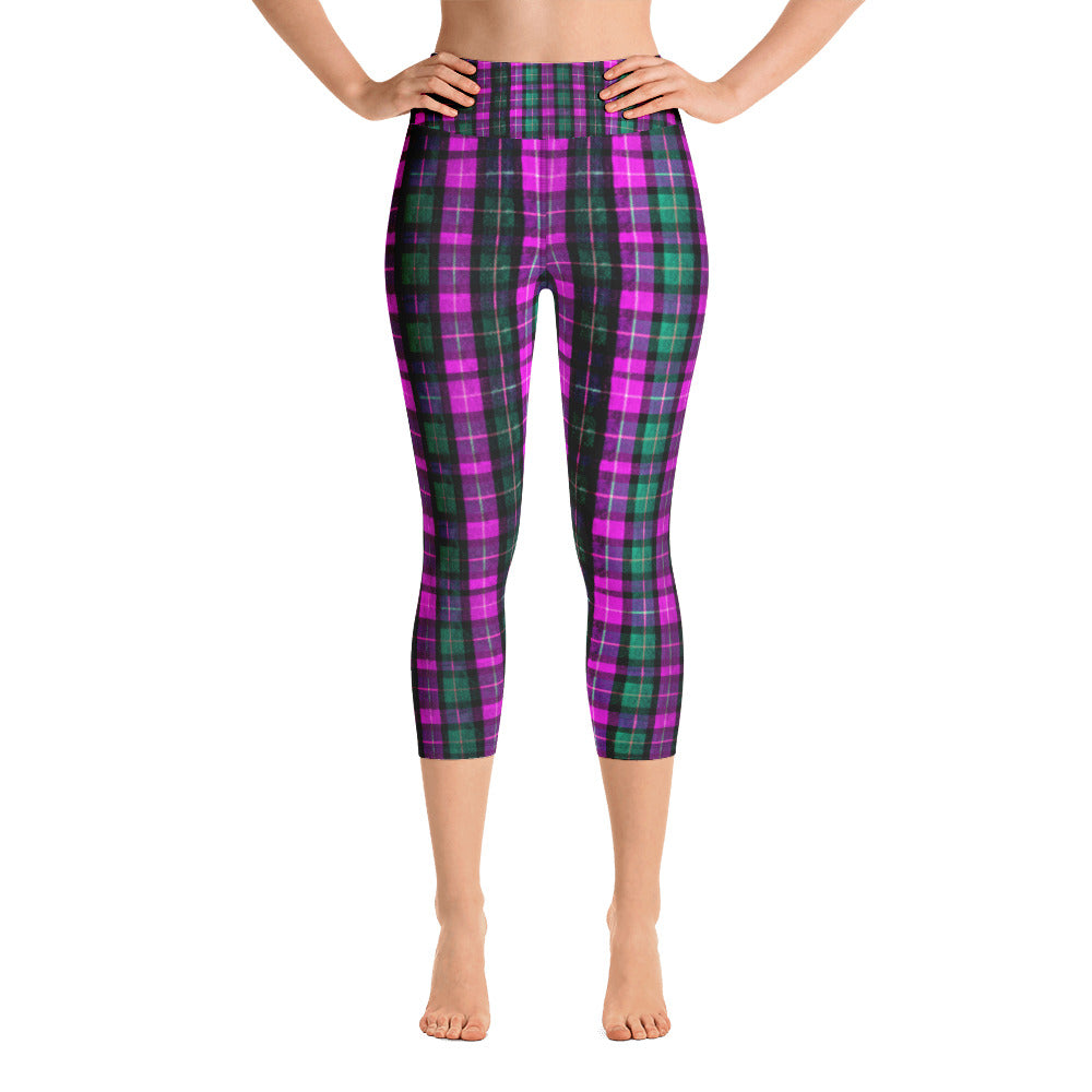 013bb78fc1d Kikuko Pink Green Plaid Women s Cotton Yoga Capri Pants Leggings w   Pockets-Made In USA