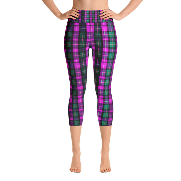 Pink Green Plaid Women's Yoga Capri Pants Leggings w/ Pockets- Made In USA-Capri Yoga Pants-XS-Heidi Kimura Art LLC Pink Plaid Women's Capri Leggings, Pink Green Plaid Women's Cotton Yoga Capri Pants Leggings With Pockets Plus Size Available- Made In USA/ Europe (US Size: XS-XL)