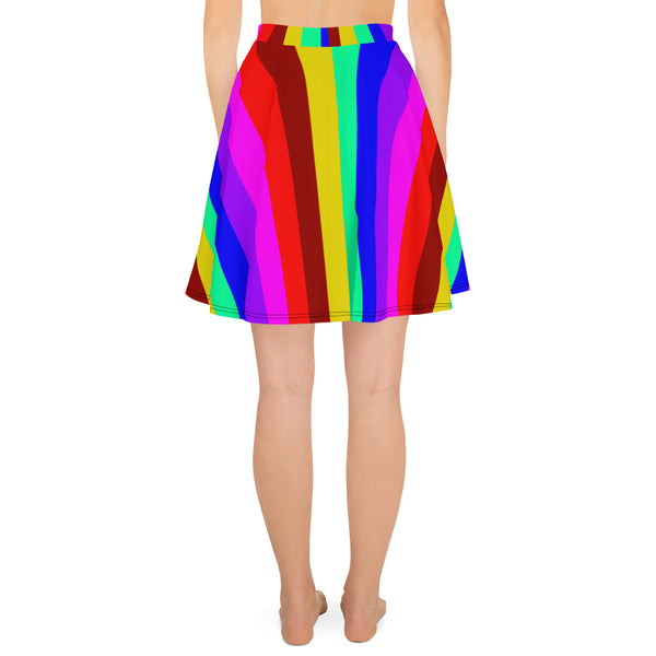 Hippie Rainbow Gay Pride Print High-Waisted Women's Skater Skirt-Made in USA/EU-Skater Skirt-Heidi Kimura Art LLC