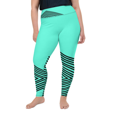 Blue Striped Plus Size Leggings, Women's Modern Yoga Pants- Made in USA/EU-Heidi Kimura Art LLC-2XL-Heidi Kimura Art LLCBlue Striped Plus Size Leggings, Sporty Modern Women's Premium High Rise Ankle Length Plus Size Leggings - Made in USA/EU (US Size: 2XL-6XL)