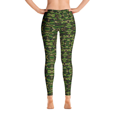 Green Camo Women's Fancy Leggings, Military Camouflage Military Print Ladies' Casual Tights-Heidikimurart Limited -Heidi Kimura Art LLC Green Camo Women's Fancy Leggings, Military Camouflage Military Print Abstract Women's Dressy Women's Long Dressy Casual Fashion Leggings/ Running Tights - Made in USA/ EU/ MX (US Size: XS-XL)