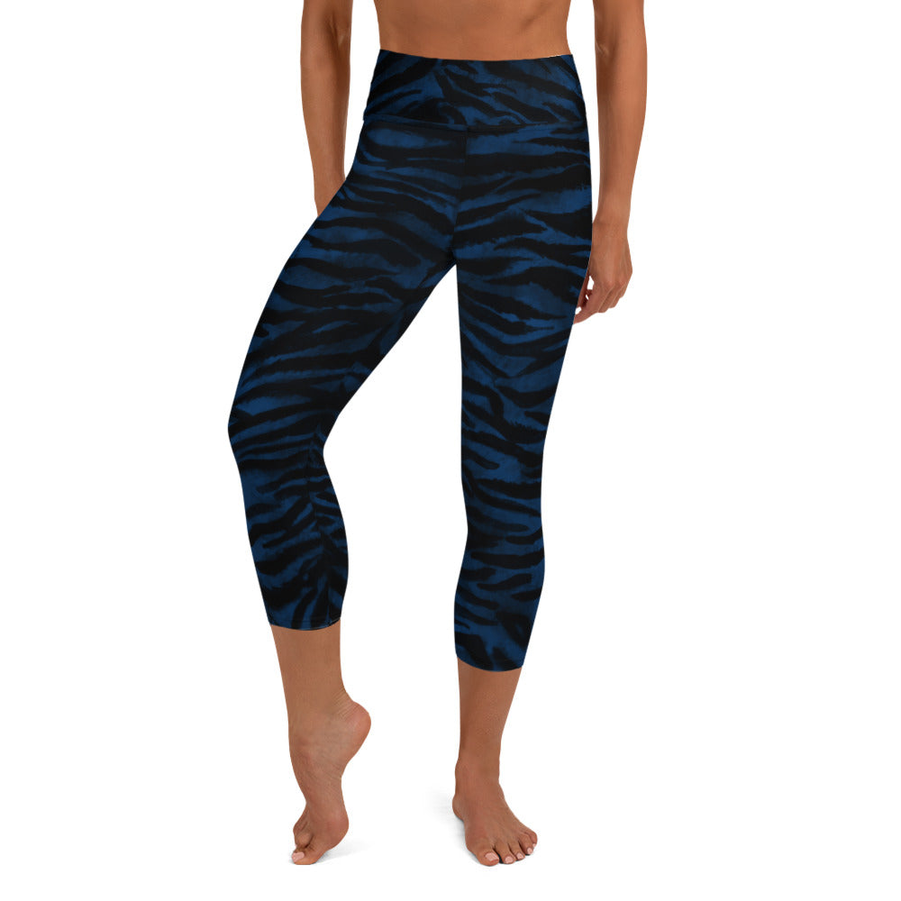 Tiger Stripe Yoga Capri Leggings, Navy Blue Animal Print Women's Yoga Tights-Heidikimurart Limited -XS-Heidi Kimura Art LLC