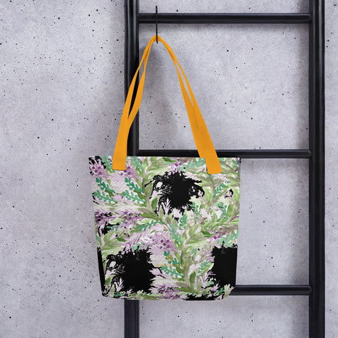 "Black Lavender Floral Print Women's Designer Tote Bag- Made in USA/EU-Yellow-Heidi Kimura Art LLC Black Lavender Floral Tote Bag, Floral Print Designer 15"" x 15"" Premium Quality Square Market Grocery Tote Bag - Made in USA/EU"