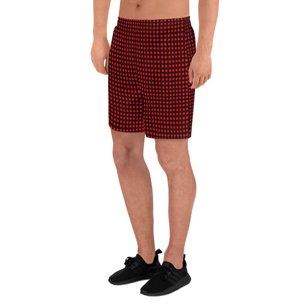 Buffalo Red Plaid Print Men's Athletic Best Workout Designer Long Shorts- Made in EU-Men's Long Shorts-Heidi Kimura Art LLC
