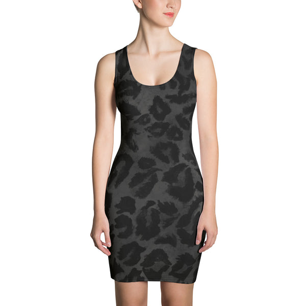 Dark Black Gray Leopard Animal Print Women's One Piece Dress - Made in USA/ Europe-Women's Sleeveless Dress-XS-Heidi Kimura Art LLC