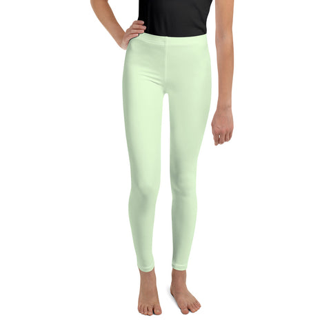 Light Lime Pastel Green Solid Color Print Premium Youth Leggings- Made in USA/ EU-Youth's Leggings-8-Heidi Kimura Art LLC