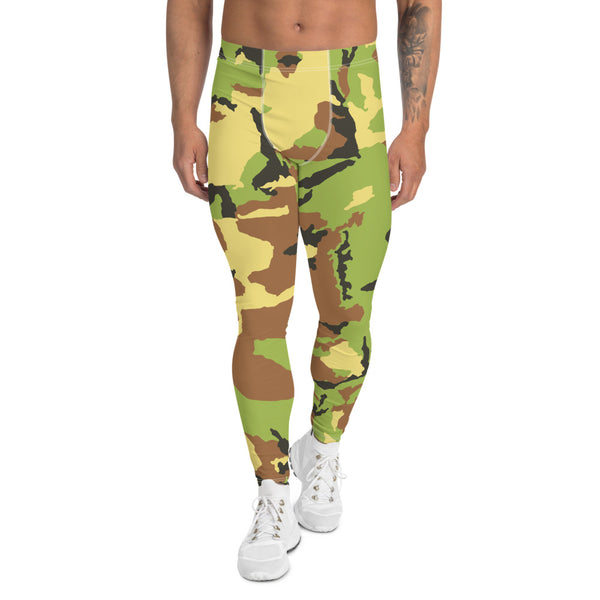 Green Camouflage Print Men's Leggings, Camo Military Army Meggings-Made in USA/EU-Heidikimurart Limited -XS-Heidi Kimura Art LLC Green Camo Print Men's Leggings, Camouflage Army Military Print Men's Leggings, Camo Men's Modern Meggings, Men's Leggings Tights Pants - Made in USA/EU (US Size: XS-3XL) Sexy Meggings Men's Workout Gym Tights Leggings