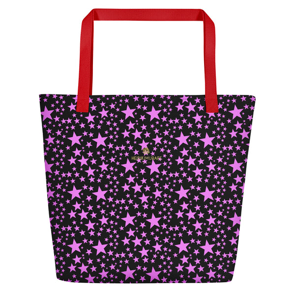 "Black Pink Star Pattern Print Designer Large 16""x20"" Beach Shopping Bag- Made in USA/EU-Beach Tote Bag-Red-Heidi Kimura Art LLC"