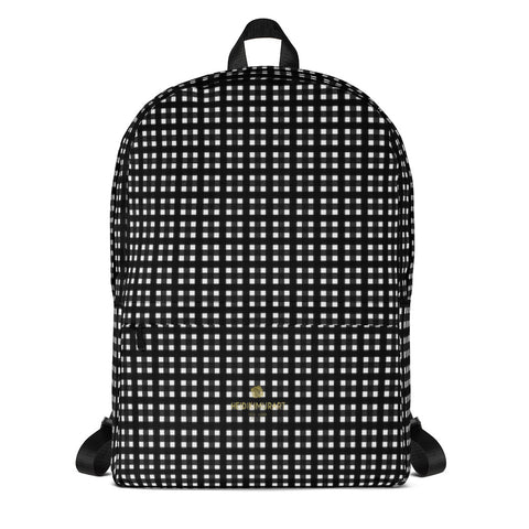 "Black White Buffalo Plaid Print Classic Travel School Backpack Bag- Made in USA/EU-Backpack-Heidi Kimura Art LLC Black Buffalo Backpack, Buffalo White And Black Plaid Print Designer Medium Size (Fits 15"" Laptop) Water Resistant Preppy College Unisex Backpack for Travel/ School/ Work - Made in USA/ Europe"