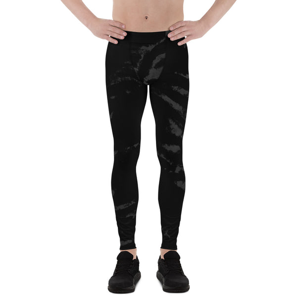 Black Tiger Stripe Print Meggings, Men's Running Leggings Run Tights- Made in USA/EU-Men's Leggings-XS-Heidi Kimura Art LLC