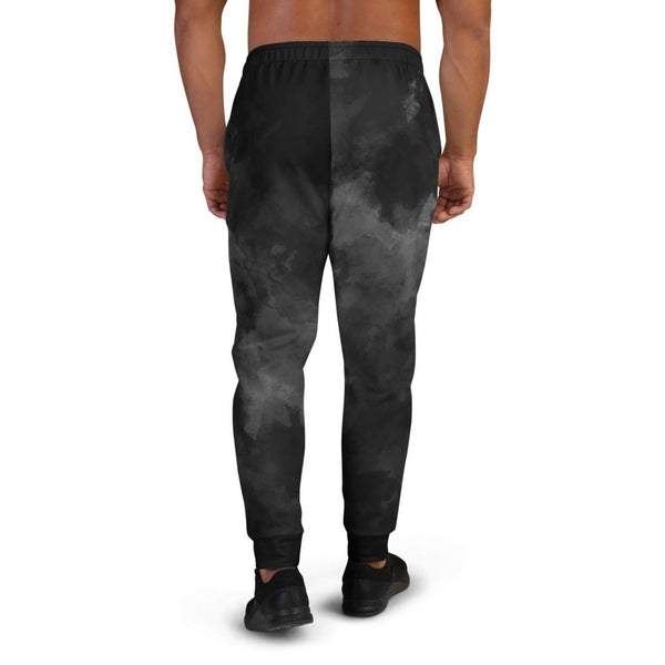 Black Abstract Men's Joggers, Clouds Print Premium Best Men's Sweatpants- Made in EU-Men's Joggers-Heidi Kimura Art LLC