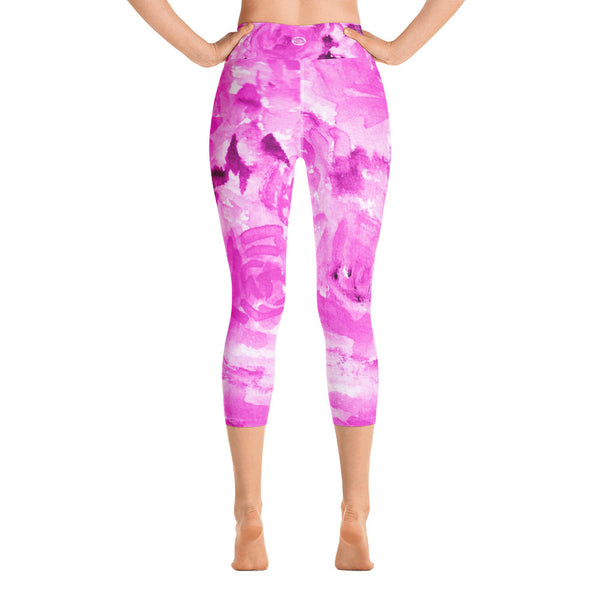 Pink Floral Print Women's Yoga Capri Pants Leggings With Pockets- Made In USA-Capri Yoga Pants-Heidi Kimura Art LLC