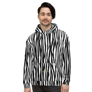 White Black Zebra Animal Print Men's or Women's Unisex Hoodie- Made in Europe-Men's Hoodie-XS-Heidi Kimura Art LLC