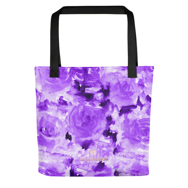 Daiki Dark Violet Purple Rose Floral Designer AOP Tote Bag - Made in USA